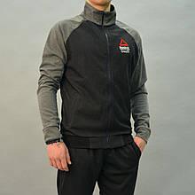 Размеры:46,48. Мужской спортивный костюм Reebok Crossfit (Рибок)   Турция, Трикотаж-лакост - черный/серый