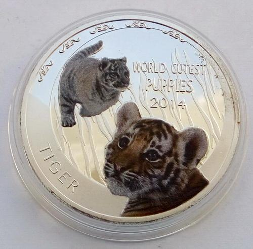 Ниуэ. Тигр. 1 доллар 2014 г. Пруф