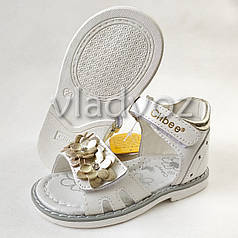 Детские босоножки сандалии для девочки белые кожа Clibee 22р.