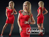 Платье с декольте украшенным вышивкой-красный, фото 1