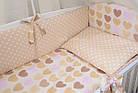Комплект постельного белья Asik Сердечка с горошком бежевые и розовые 8 предметов (8-212), фото 5