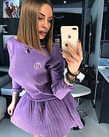 """Костюм Doratti OG """"MARTA"""" модный вязаный свитшот и юбка плиссе мини пряжа хлопок разные цвета Kdor805"""