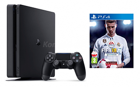 Игровая приставка SONY Playstation 4 Slim 1Tb Black (+FIFA 18)