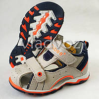 Босоножки, сандалии для мальчика бежевые кожа Clibee 31р.