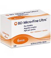 Иглы для шприц-ручек универсальные BD Microfine Plus 0,25*6мм (Микрофайн) Новинка