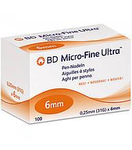 Иглы для шприц-ручек универсальные BD Microfine Plus 0,25*6мм (Микрофайн) №100