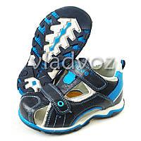 Босоножки, сандалии для мальчика черные с синим кожа Clibee 28р.