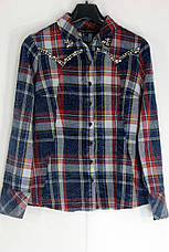 Жіноча сорочка в клітинку з бісером ,перлинками  Saloon, фото 2