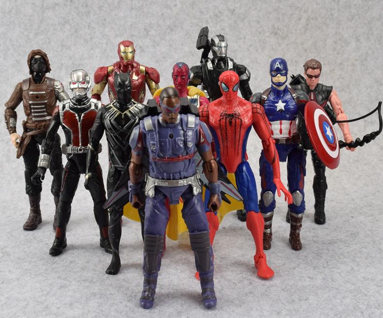 Набор Марвел Супергерои 10 шт. 17 см. Мстители Спайдермен Тор Капитан Америка