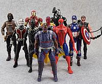 Набор Марвел Супергерои 10 шт. 17 см. Мстители Бетмен Сокол Супермен Тор Кап. Америка Железный человек, фото 1