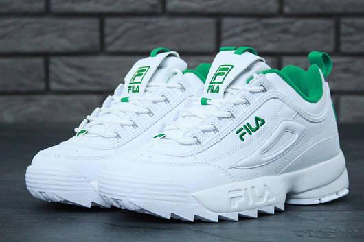 Женские кроссовки Fila Disruptor II White/Green (Фила Дисраптор 2) белые, реплика