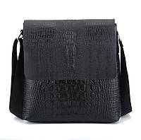 Мужская сумка с тиснением под крокодила на плечо коричневая черная, фото 1