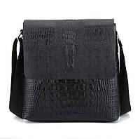 Мужская сумка с тиснением под крокодила на плечо коричневая черная