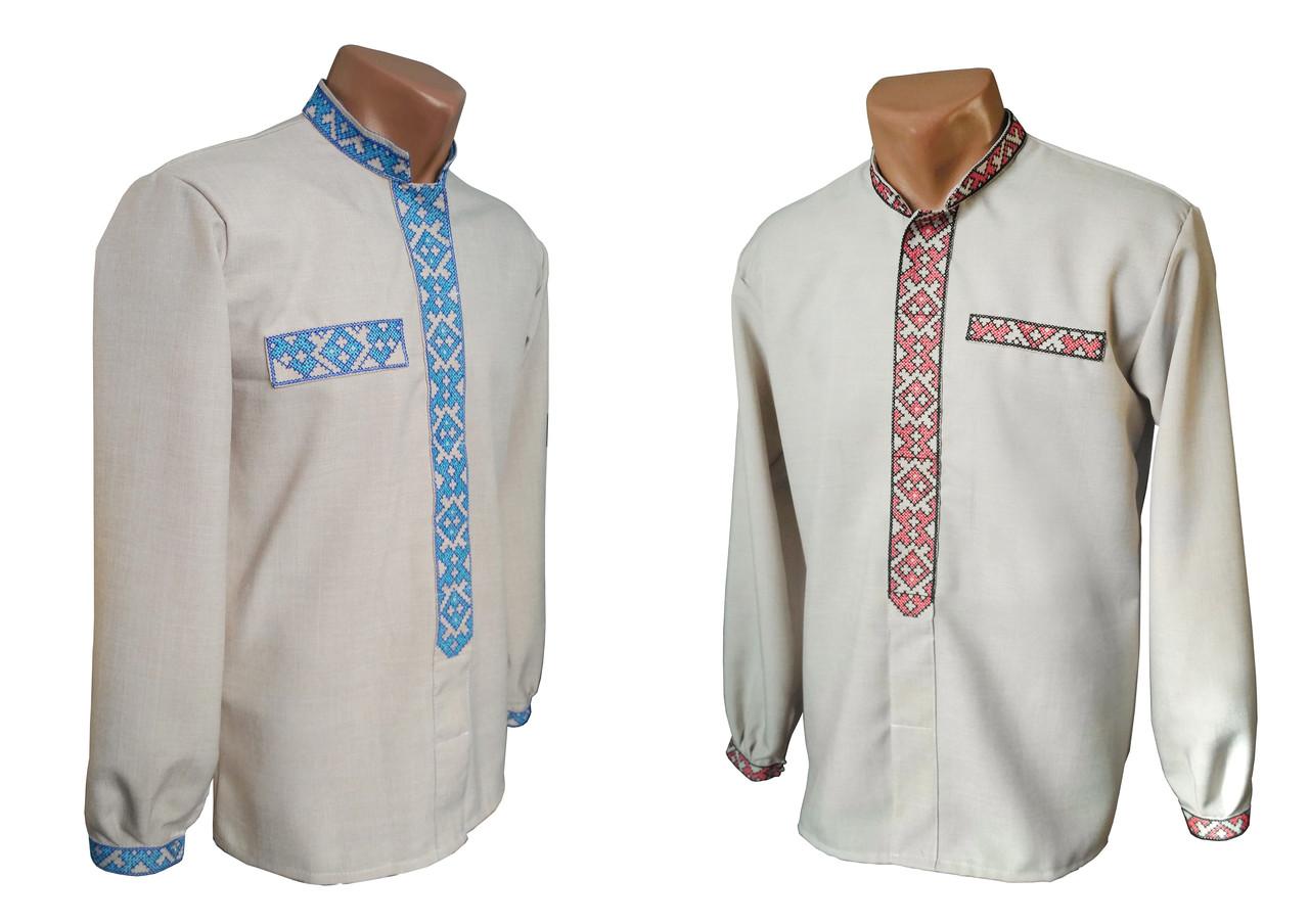 Классическая мужская рубашка с элементами вышивки с длинным рукавом с льна