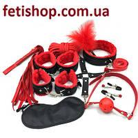 Красный эротический набор для интимных игр 11 предметов