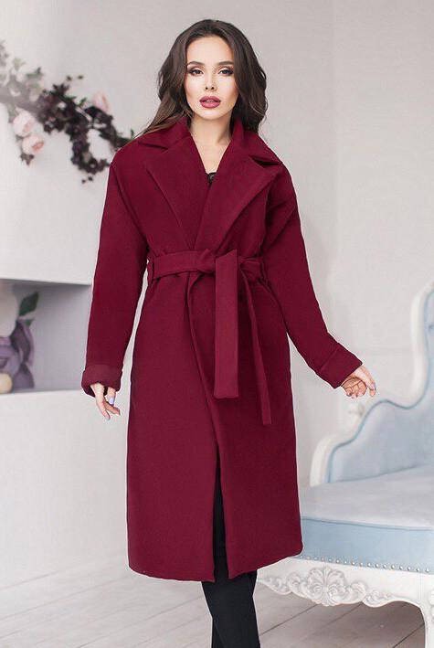 Бордовое женское пальто   - Даниель -