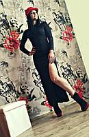 Молодежное платье в пол с разрезом черный