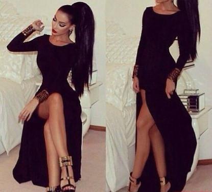 Вечернее платье в пол с разрезом расклешенное к низу черное