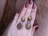 Красивые серьги с тигровым глазом. Серьги с натуральным камнем тигровый глаз в серебре. Индия!, фото 1