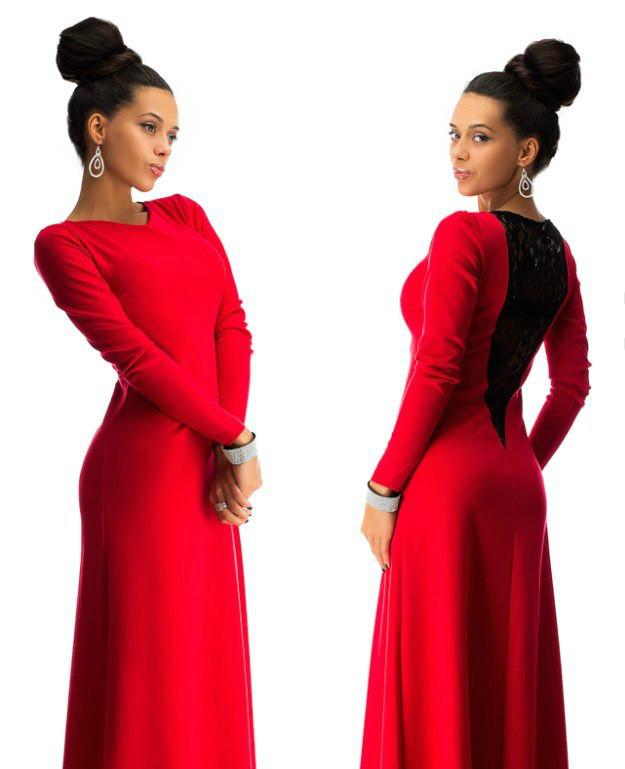 27b6fe9a3bd31e1 Красивое платье в пол с дорогим набивным гипюром красное - Интернет-магазин