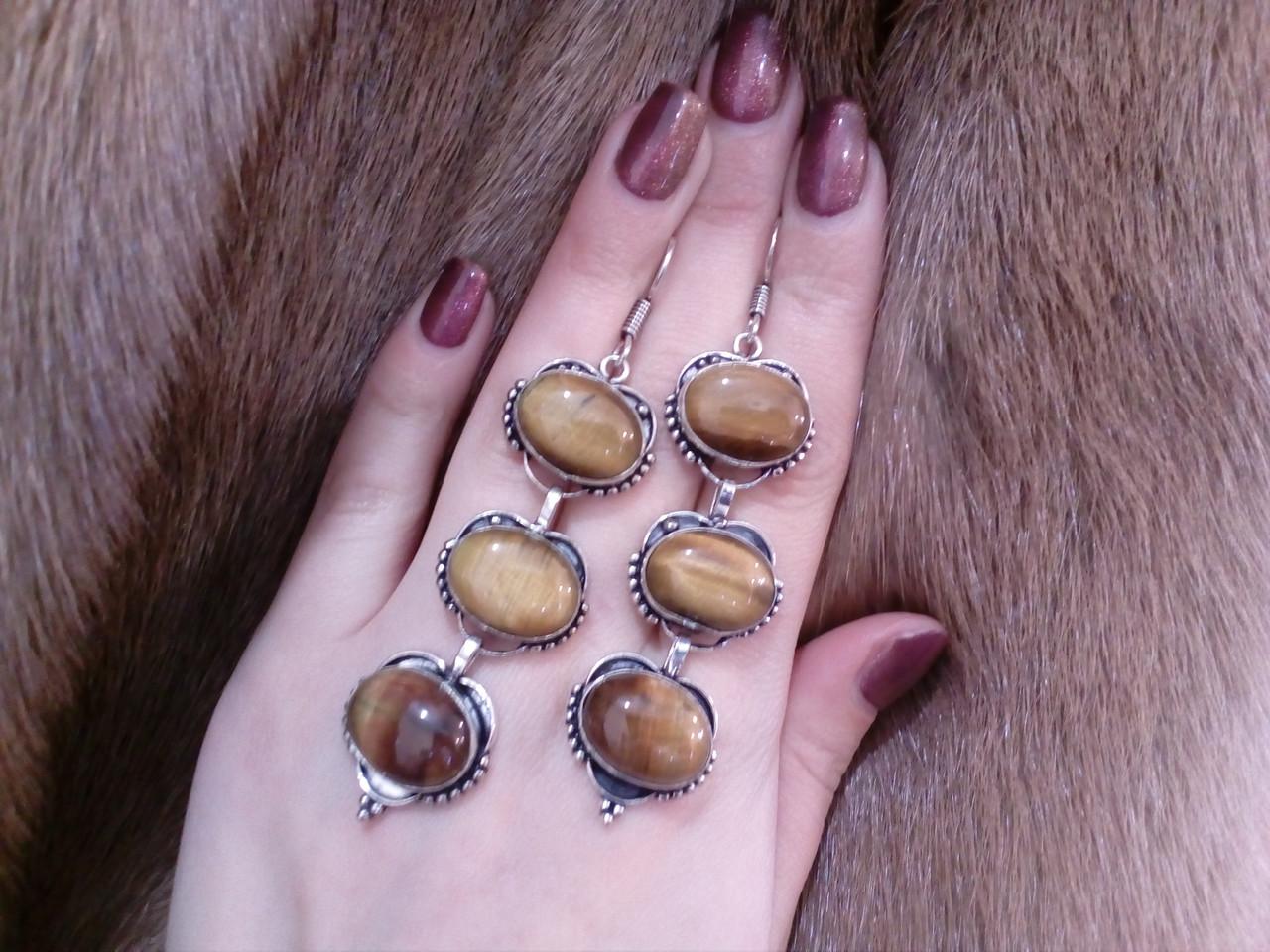 Красивые серьги с тигровым глазом. Серьги с натуральным камнем тигровый глаз в серебре. Индия!