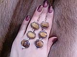 Красивые серьги с тигровым глазом. Серьги с натуральным камнем тигровый глаз в серебре. Индия!, фото 2