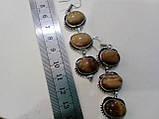 Красивые серьги с тигровым глазом. Серьги с натуральным камнем тигровый глаз в серебре. Индия!, фото 3
