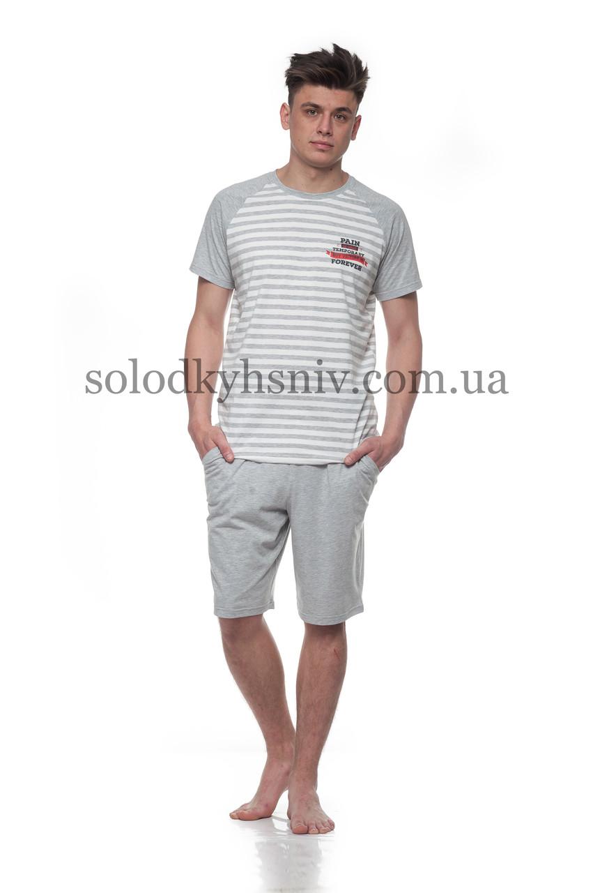 053bbf92e Піжама чоловіча ELLEN шорти+футболка Сіра Смужечка Ч-017/001 ...