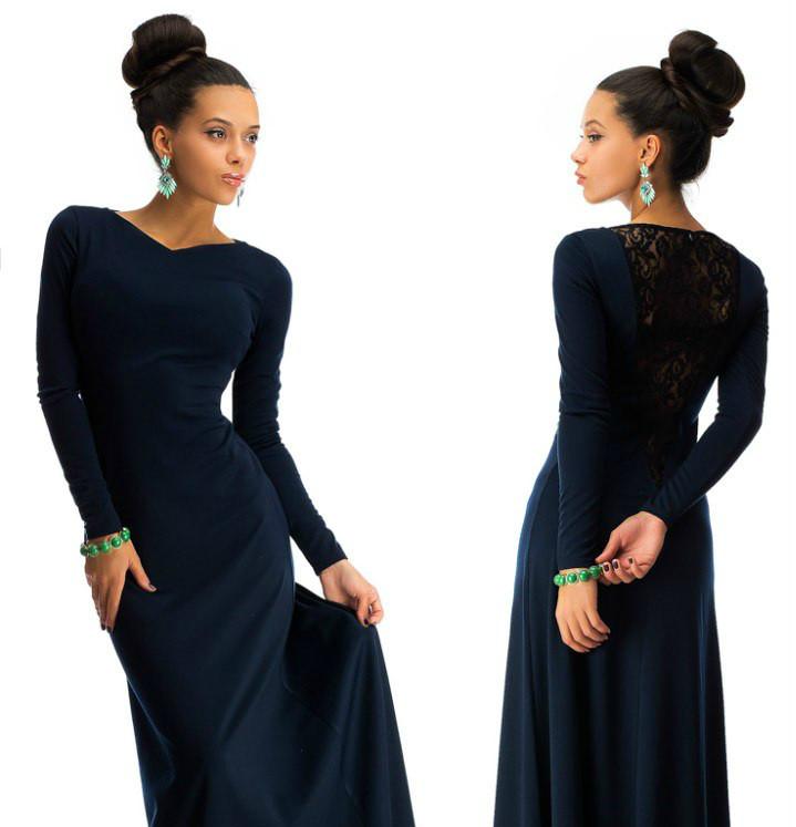 8583720eb1e0084 Красивое платье в пол с дорогим набивным гипюром темно-синий -  Интернет-магазин