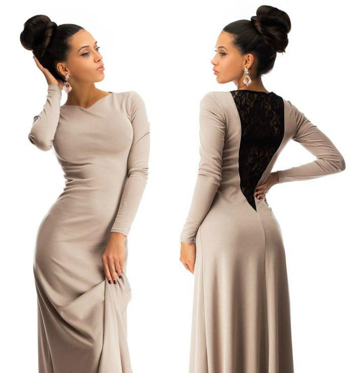 Красивое платье в пол с дорогим набивным гипюром бежевое