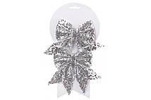 Набор (2шт) декоративных бантов 13см, цвет - серебро
