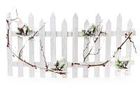 Декоративный деревянный забор в ветках и скворечниках, 98см