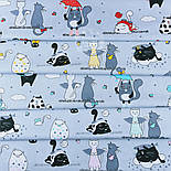 """Ткань польская """"Котики с крыльями"""" бирюзовые на сером  №1261, фото 3"""