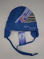 """Весенняя шапка для мальчика на завязках  """"Style Street"""", (трикотаж), р. 44-46 см"""
