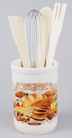 Подставка керамическая в наборе с кухонными принадлежностями Хлеб
