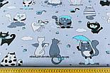 """Ткань польская """"Котики с крыльями"""" бирюзовые на сером  №1261, фото 2"""