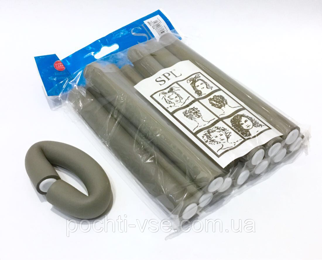 Бигуди Папильотки (бумеранги) без липучки короткие серые , (180 мм/20 мм)