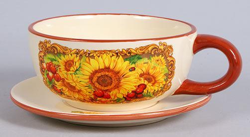 Чашка керамическая 450мл с блюдцем Подсолнухи