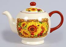 Чайник керамический 1л Подсолнухи