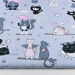 """Ткань бязь """"Котики с крыльями"""" розовые на сером  №1262"""