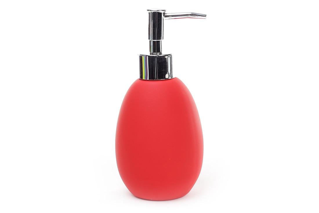 Диспенсер керамический 350мл для жидкого мыла/лосьона, цвет - красный