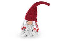 Новогодняя декоративная кукла Гном 36см, цвет - красный