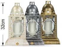 Свеча фонарь белый с золотой патиной