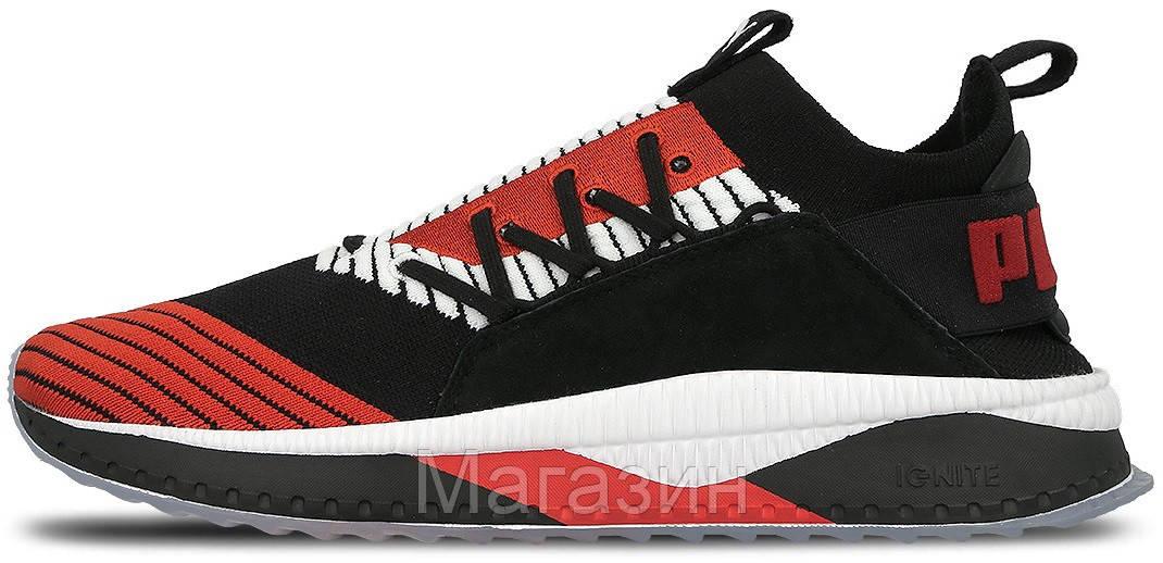 Мужские кроссовки Puma Tsugi Jun Cubism Black (Пума) в стиле черные с красным