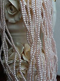 Бусины жемчужные нежно-розовые диаметр 4 мм на нитке
