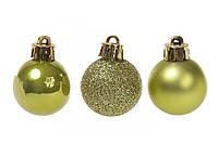 Набор елочных шаров 3см, цвет - оливковый зеленый 25 шт: 5 шт - матовый, 10 шт - перламутр, 10 шт - глитер