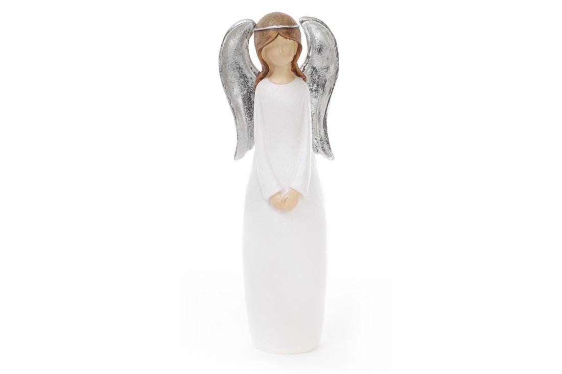 Декоративная фигурка Ангел 26см, цвет - белый с серебром