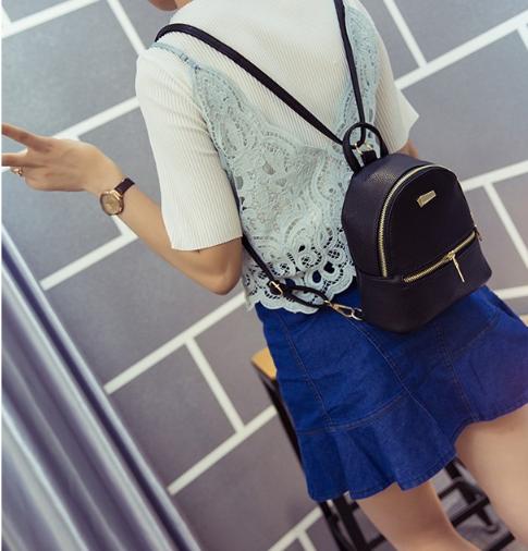 Рюкзак маленький для девочек городской черный Модный Высота 20 см.
