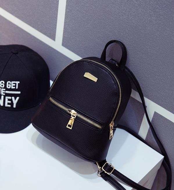 Рюкзак маленький городской черный Модный Высота 20 см.