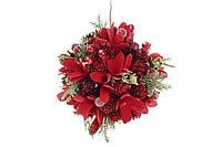 Новогоднее украшение Шар 14см с декором из красных цветов